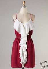 Ruffle Touch Down -- Crimson/Ivory Great simple, two-toned dress for the game. Spaghetti straps with draping ivory ruffle and exposed zipper down the entire front of the dress.