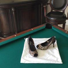 Donald J Pliner shoes NIB Couture Donald J Pliner peep toe pumps.  Style is Congo Mesh Elas/Ant Metallic.  Animal print with brown/bronze trim.  3 1/2 inch heel.  The heel of shoe and the heel (of foot) is brown/bronze. Donald J. Pliner Shoes