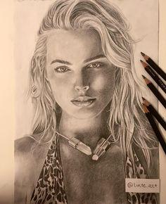 Derwent Pencils, Realistic Drawings, Margot Robbie, Artist, Portraits, Fictional Characters, Instagram, Paper, Head Shots