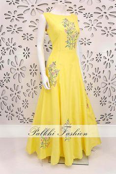PalkhiFashion Designer Light Yellow Soft Silk Outfit With Handwork & Beautiful Designs Dress Indian Style, Indian Fashion Dresses, Indian Gowns, Indian Designer Outfits, Indian Outfits, Designer Dresses, Long Gown Dress, Anarkali Dress, Anarkali Suits