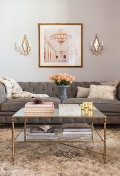 feminine living room in blush and grey
