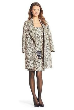 Britta Leopard Woven Coat In Caramel/ New Pearl/ Black