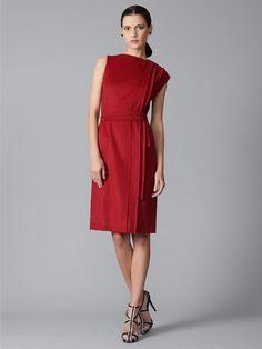 Wool Pintuck Accordion Dress by Carolina Herrera on Gilt.com