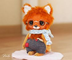 Made to order  Mika the Fox artist ooak teddy toy 5.5 inches