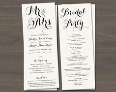 Wedding Program Template Wedding Order of Service by ConnieAndJoan