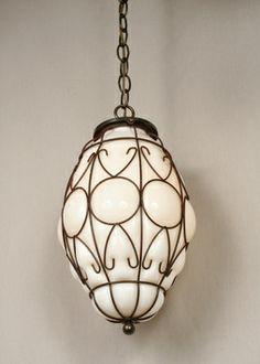 Vintage Blown Basket Glass Pendant, c. 1950. #Vintage #Lighting www.myrlg.com