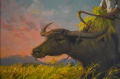 Fernando Cueto Amorsolo (Filipino / Riding a Carabao During SunsetSigned and dated lower right: F. on Mar 2015 Filipino Art, Painters, Moose Art, Spring, Modern, Animals, Trendy Tree, Animales, Animaux
