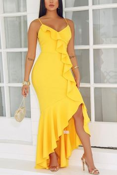 Lovely Stylish Ruffle Design Yellow Floor Length Dress(With Elastic) Lovely Stylish Ruffle Design Yellow Floor Length Dress(With Elastic) - Jumpsuits and Romper Trendy Dresses, Sexy Dresses, Dress Outfits, Fashion Dresses, Yellow Party Dresses, Yellow Dress, Ruffles, Floor Length Dresses, Classy Dress