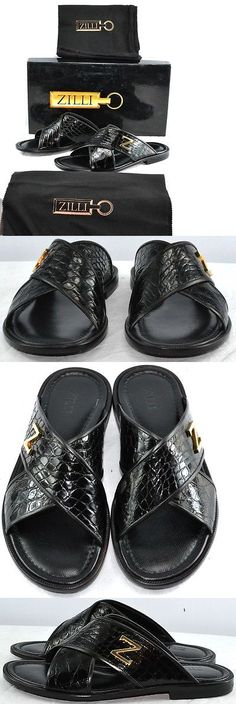 e0fb491e5dc19 Sandals and Flip Flops 11504  Zilli Mens Black Crock Crocodile Sandal  Slippers Shoes Size 7 Us New  2800 -  BUY IT NOW ONLY   499 on eBay!