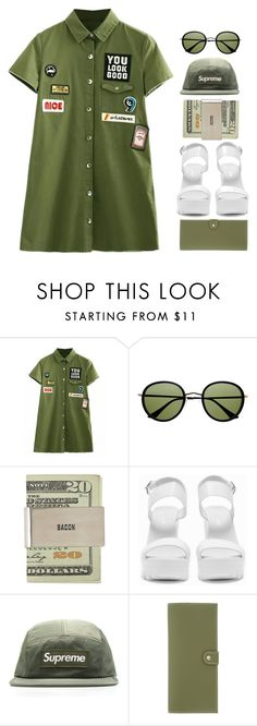 """""""Serotonia"""" by sazyc ❤ liked on Polyvore featuring Retrò, Nly Shoes, Under Cover, GREEN and military"""