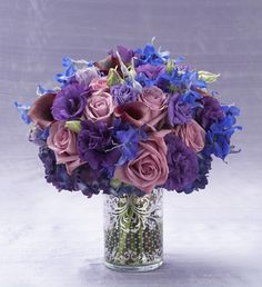 blue and purple wedding centerpieces