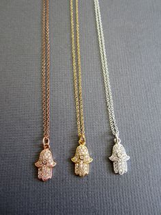 Hamsa necklace Gold Rosegold Silver Hamsa Jewelry by Lotus411.  Love the rise gold!