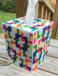 Tessalations Tissue Cover Handmade Red Blue Green Yellow Yarn Plastic Canvas   eBay