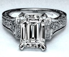 Engagement Ring - Large Emerald Cut Diamond Cathedral Graduated pave Engagement Ring 1.25 tcw. In 14K White Gold - ES745ECWG