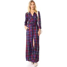L'AGENCE Cameron Long Shirt Dress ($455) ❤ liked on Polyvore featuring dresses, navy multi, collar dress, collared shirt dress, shirt dress, plaid dress and blue plaid dress