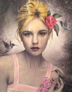#art #sext #rose #roses #hummingbird #pink #dress