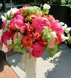 Genial Bridal Bouquet With Sweet Peas, Coral Peonies, Roses By Convallaria