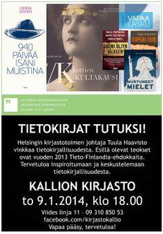 Helsingin kirjastotoimen johtaja Tuula Haavisto vinkkaa tietokirjallisuudesta Kallion kirjastossa to 9.1.2014 klo 18. pic.twitter.com/dBkIvxo8pZ