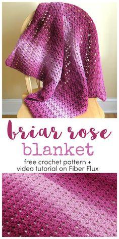 Briar Rose Blanket, free crochet pattern + full video tutorial on Fiber Flux Crochet Gifts, Crochet Baby, Baby Blanket Crochet, Free Crochet, Crochet Blankets, Baby Afghans, Crochet Afghans, Beginner Crochet, Crochet Things