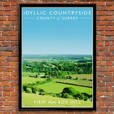 Vintage Style Travel Poster of the view from Box Hill in Surrey.