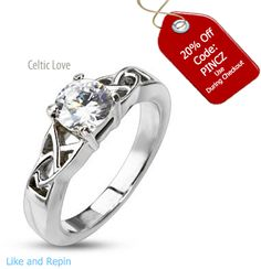 Celtic Love Ring at 20% off by using this code: PINCZ During Checkout. Click Me to Order #BuyBlueSteel #ring #cz #Silver #Engagement #women #Jewelry