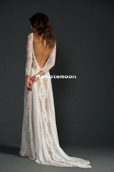 Vintage Lace Boho Wedding Dresses Long Sleeve Backless Bridal Gowns Sexy Side Split Summer Beach Wedding Dress sold by June-Bride on Storenvy Bridal Gowns, Wedding Gowns, Bridal Lace, Lace Weddings, Perfect Wedding, Dream Wedding, Trendy Wedding, Wedding Things, Wedding Summer