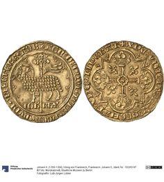 Frankreich: Johann II. Münze Johann II. (1350-1364), König von Frankreich, Königtum, Münzherr 1355 Land: Frankreich (Land) Nominal: Mouton d'or, Material: Gold, Druckverfahren: geprägt Gewicht: 4,59 g Durchmesser: 30 mm