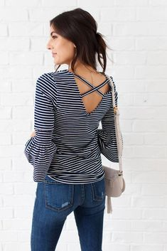 What a Babe Navy Striped Top