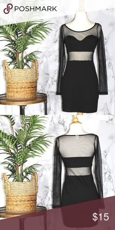 Black Sheer Cutout Dress Length- 30 Inches Bust-30 Inches Sleeves-25 Inches  86% Polyester 12% Rayon 2% Spandex Smiley Face Dresses Long Sleeve