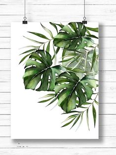 New in the shop: Watercolor Monstera and Palm leaves. Plant Painting, Plant Art, Painting Leaves Acrylic, Watercolor Plants, Watercolor Paintings, Watercolor Tattoos, Watercolor Leaves, Botanical Wall Art, Painted Leaves