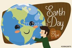 Mankind Embracing Cute Planet for Earth Day Holiday