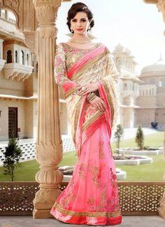 cream-pink-net-party-wear-saree_35740-800x1100.jpg (800×1100)