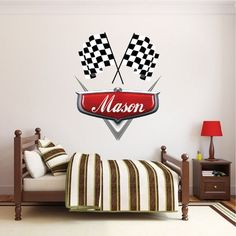 Personalized Boys Race Car Name Decal - Car Wall Decals - Automotive Decals - Kids Room Wall Murals - Race Track Wall Stickers Primedecals Car Themed Bedrooms, Bedroom Themes, Bedroom Decor, Kids Room Wall Decals, Wall Murals, Race Car Room, Personalised Wall Stickers, Custom Wall Decals, Ideas Hogar