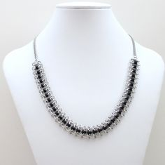 Black beaded chainmaille necklace, Centipede weave. $50.00, via Etsy.