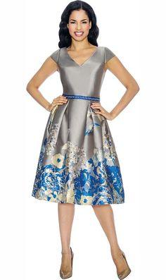 4d429db5d60bfa Annabelle Cap Sleeve Tea Length Dress With Floral Print Design - Fall 2018  - ExpressURWay