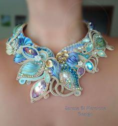 """""""Eliana Necklace"""" - Serena Di Mercione Design - Beadembroidery, soutache. - Shibori silk, Swarovski, pearl"""