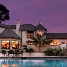 Beautiful house :) dream house purple skies palm trees