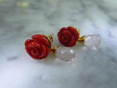 Vergoldete Ohrringe - Ohrringe Bluete Koralle Rosenquarz Rose Hochzeit - ein Designerstück von TOMKJustbe bei DaWanda