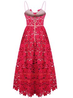 Red Spaghetti Strap Crochet Lace Midi Dress | Choies
