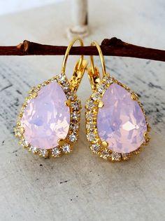 Pink opal blush pink crystal earrings, Drop earring, Bridal earrings, Bridesmaids gifts, Swarovski Teardrop Dangle earrings, Gold or Silver