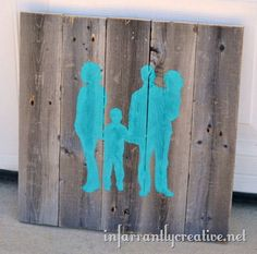 Create DIY wall art by turning a favorite family photo into silhouette pallet art!