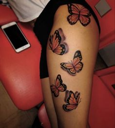 Cute Thigh Tattoos, Cute Hand Tattoos, Red Tattoos, Girly Tattoos, Badass Tattoos, Pretty Tattoos, Small Tattoos, Tatoos, Butterfly Ankle Tattoos