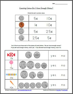 Teaching money Counting Coins - Do I Have Enough Money? Teaching Money, Student Teaching, Teaching Time, Math Classroom, Kindergarten Math, Preschool, Classroom Ideas, Math Resources, Math Activities