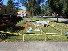 """Obstacle course for the """"spy training academy party."""" The kids loved it! Camping Activities, Activities For Kids, Secret Agent Party, Spy Birthday Parties, Detective Party, Spy Games, Bible School Crafts, Spy Kids, Vacation Bible School"""