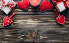 Download wallpapers Valentines day, wooden background, February 14, red hearts, gifts, candles, love concepts