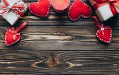 Descargar fondos de pantalla El día de san valentín, fondo de madera, 14 de febrero de corazones rojos, regalos, velas, el amor conceptos