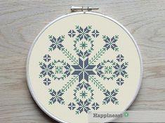 modern cross stitch pattern geometric snowflake by Happinesst