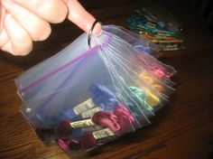 Embroidery Floss Storage and Organization -- Carol Jones, professional organizer. This is how I store my floss. I sort by colors. I really did not want to spend my time winding my floss around some thing-a-ma-jig. Thread Organization, Thread Storage, Yarn Storage, Craft Room Storage, Storage Ideas, Embroidery Floss Storage, Embroidery Art, Cross Stitch Embroidery, Cross Stitch Patterns