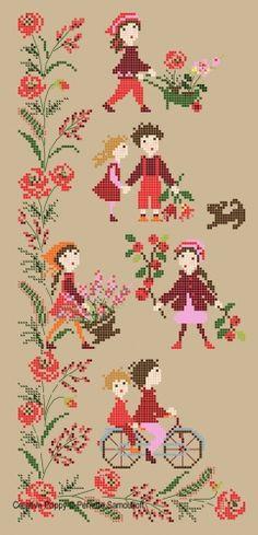 Perrette Samouiloff - Red Poppy Banner (cross stitch chart)