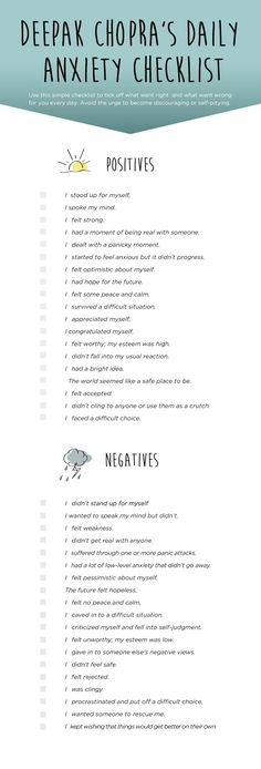 PIN IT: Deepak Chopra's Daily Checklist to End Anxiety || Keep a simple daily log to track the positive things you did to relieve your anxiety. It's also good to record the negative things. Rather than keeping a full-fledged journal, which most people can't find the time to sustain after a few weeks or months, make your log a simple check list, ticking off what went right and what went wrong.